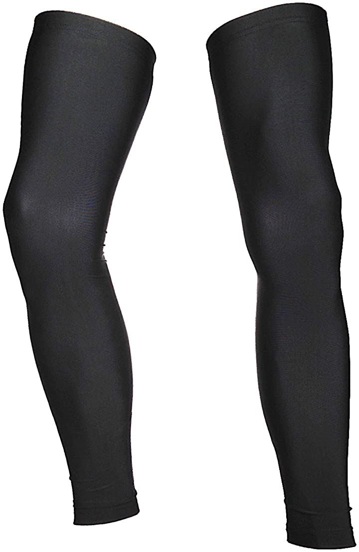 サイクル レッグカバー UVカット99% UPF50+ 滑り止め付き 黒(ブラック, L)