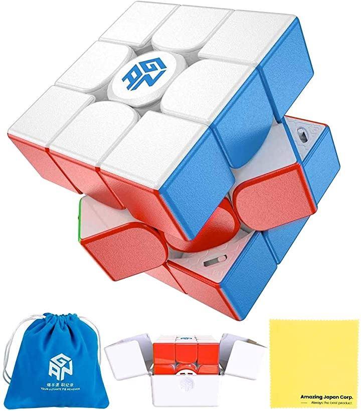 日本語説明書付き GANCUBE 11 M Pro スピードキューブ 3x3 磁石内蔵 ステッカーレス マット つや消し 内部色:白 クロス セット品