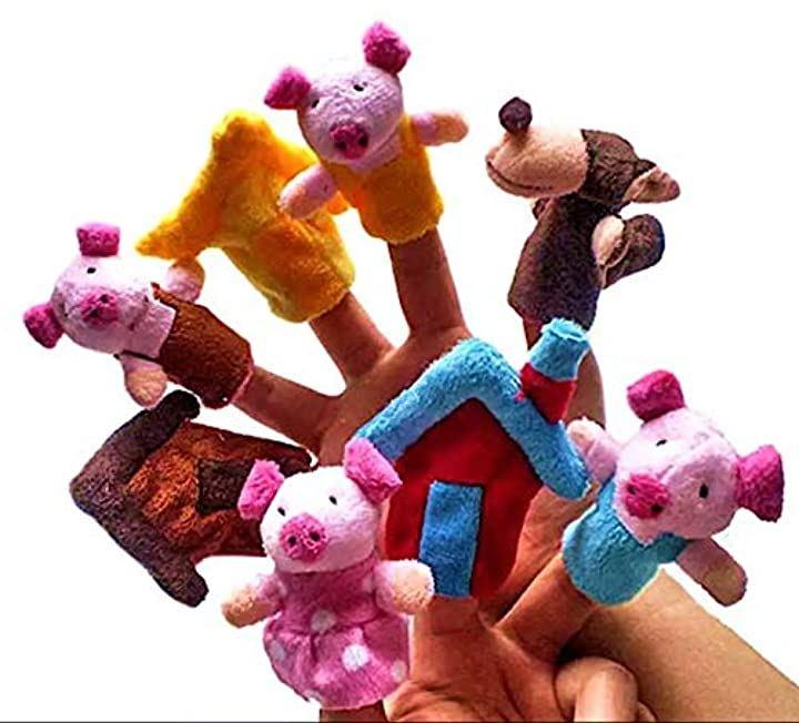 指人形 パペットセット 童話 シリーズ 3匹のこぶた オオカミ 絵本 人形劇 おもちゃ 子供 室内遊び エプロンシアター
