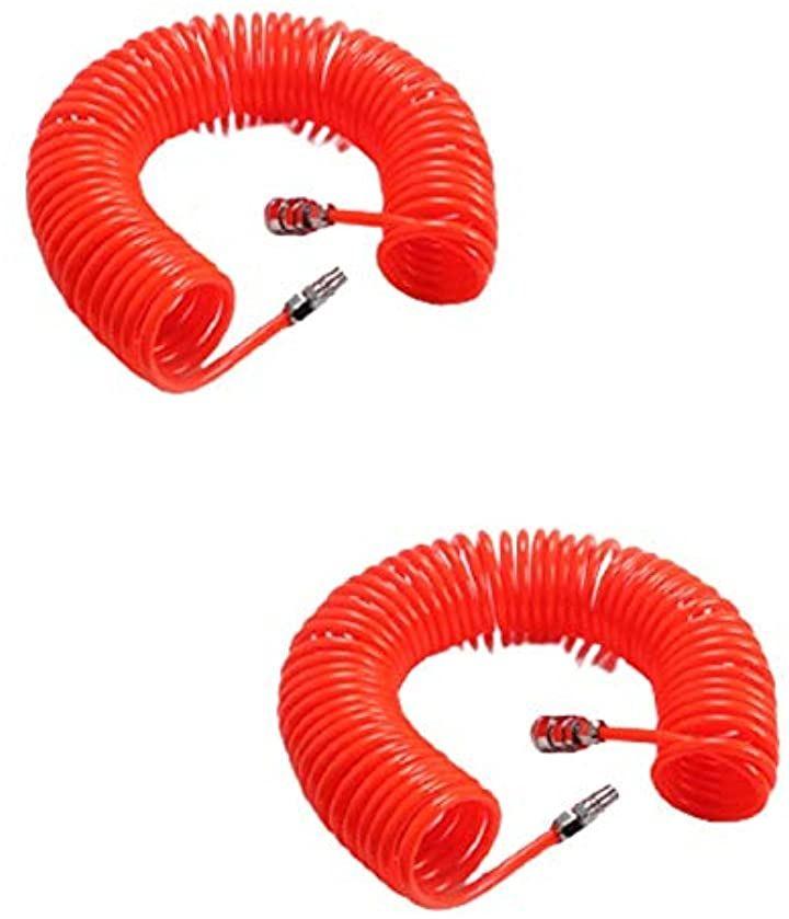 エアホース 内径5mmX外径8mm 6M2点セットスプリングチューブ 耐高圧 コンパクト収納 エアコンプレッサー