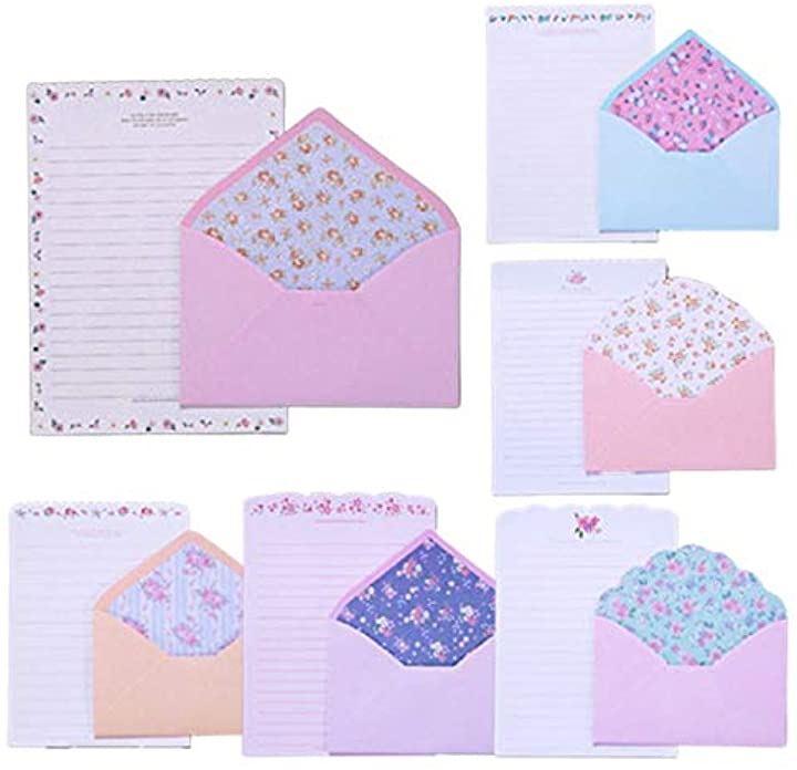 ヨーロピアン 小花柄 レターセット 6種類2セット 封筒12枚、便箋24枚パステルカラー フラワー かわいい封筒