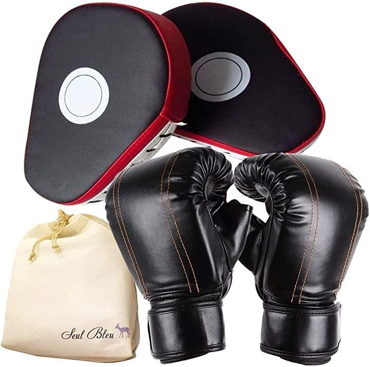 ボクシング グローブ ミット セット 収納袋 子供 フリーサイズ 親指なし ボクシングミット ジム 練習用 通気性 レッド(グローブ & ミット(フリーサイズ・レッド))