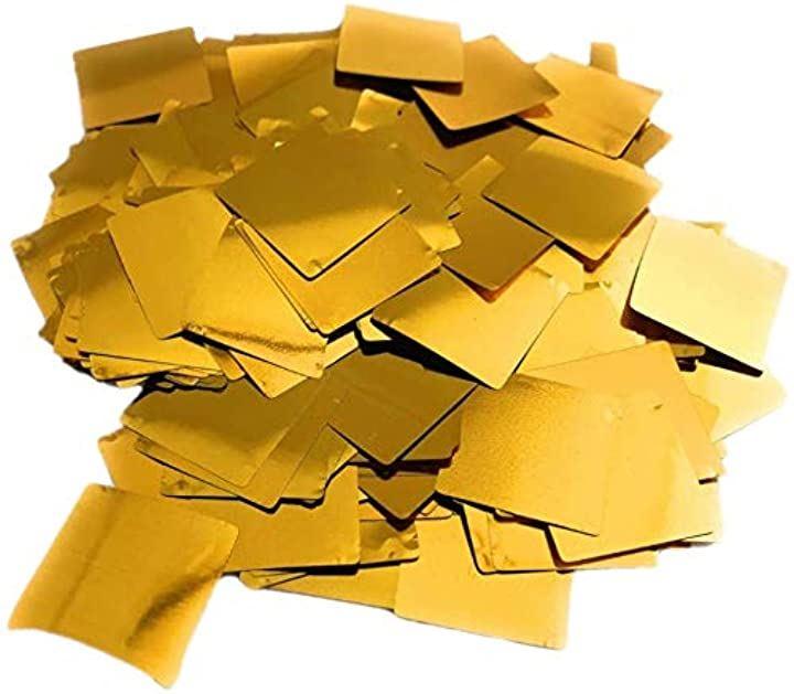 キラキラ ゴールド 紙吹雪 100g 約7200枚 ウェディング パーティ イベント 表彰式 2cm 正方形(ゴールド)