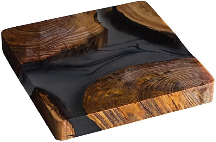アクセサリートレー ウッドプレート 樹脂コースター 玄関 ディスプレイ インテリア(BKウッドクリア)