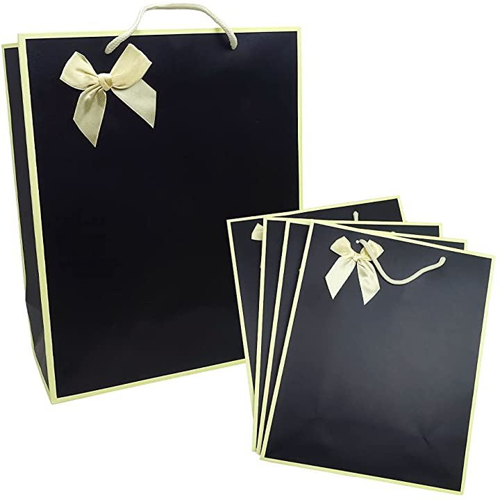 ・最新デザイン・ ギフトバッグ 紙袋 厚手 リボン付き ラッピング袋 5枚, 贈り物 プレゼント 包装 おしゃれ 高級感 無地 シンプル ~性別年代問わず幅広い用途にお使いいただけます~(ブラック, 5枚)
