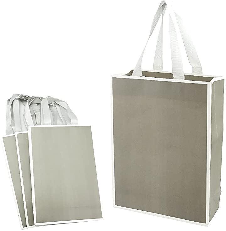 ラッピング袋 ギフトバッグ 手提げ 紙袋 厚手 高級感 おしゃれ 縦長 プレゼント 4枚 グレー(4枚 グレー)