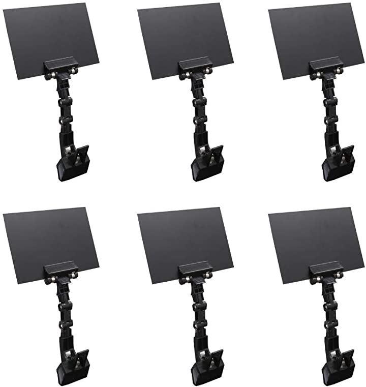 POP クリップ 黒板型 自在関節 サインボード A6 プライス 値札 タグ ボード付き 6個セット