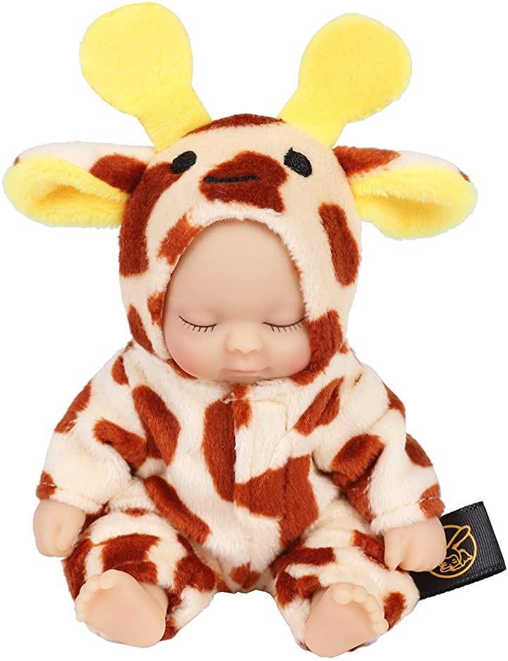 赤ちゃん人形 リボンドール キーホルダー ミニチュア リアル ベビー コレクション ベイビー(キリン)