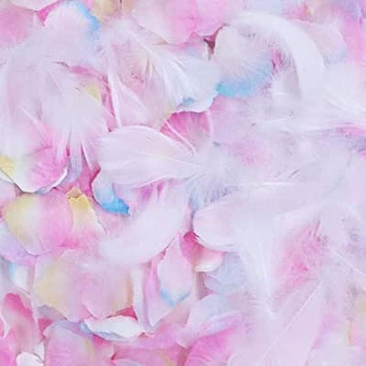 フラワーシャワー 造花 花びら 約1000枚 オリジナルの組み合わせ。3色と羽 マーメイド