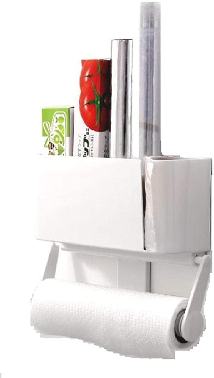 キッチン ペーパー ホルダー ペーパータオル ロール 収納 ラップホルダー キッチン用品 取り付け簡単 冷蔵庫貼付 マグネット式