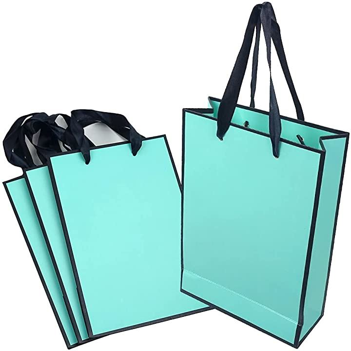 ラッピングバッグ ショッピングバッグ 紙袋 ギフト包装 丈夫 高級感 4枚 ターコイズブルー(4枚 ターコイズブルー)