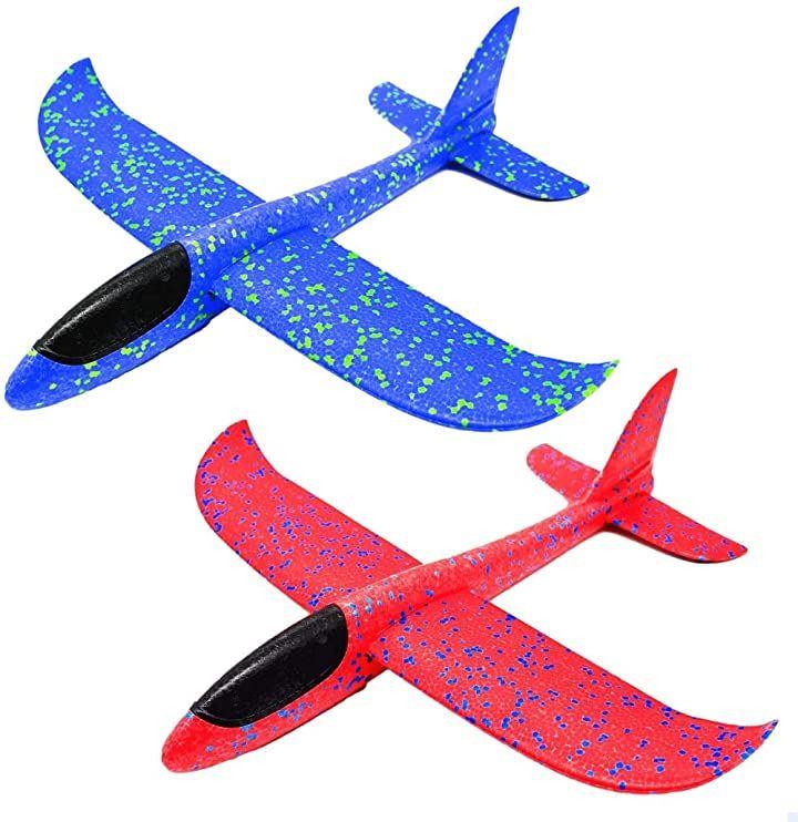 手投げ飛行機 グライダー 投げる 飛ぶ 柔らかい 2個セット 青 赤(青 赤)
