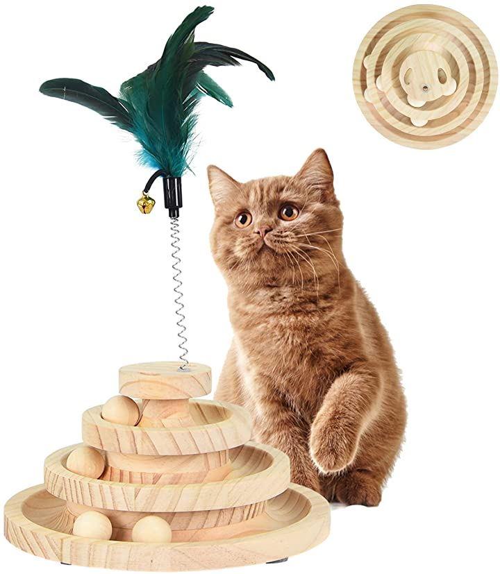 猫 おもちゃ 回転ボール 木製 3層 遊び盤 ぐるぐるボール 円盤 色ランダム 天然 羽つき 鈴 猫じゃらし付き 三層円盤
