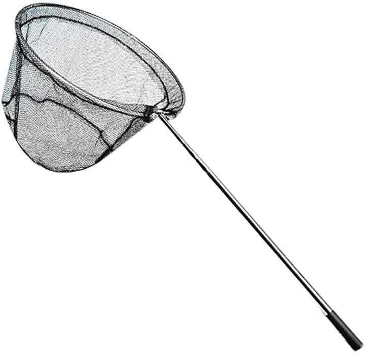 伸縮3段階。タモ網 ステンレス製ハンドル 207cm ワンタッチ ランディングネット 折り畳み式 長さ 調節 可能 魚取り 釣り具 水切り