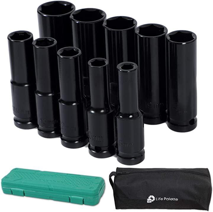 1/2 12.7mm ディープ ソケット 10本セット エアーインパクト ラチェット 工具ケース付き
