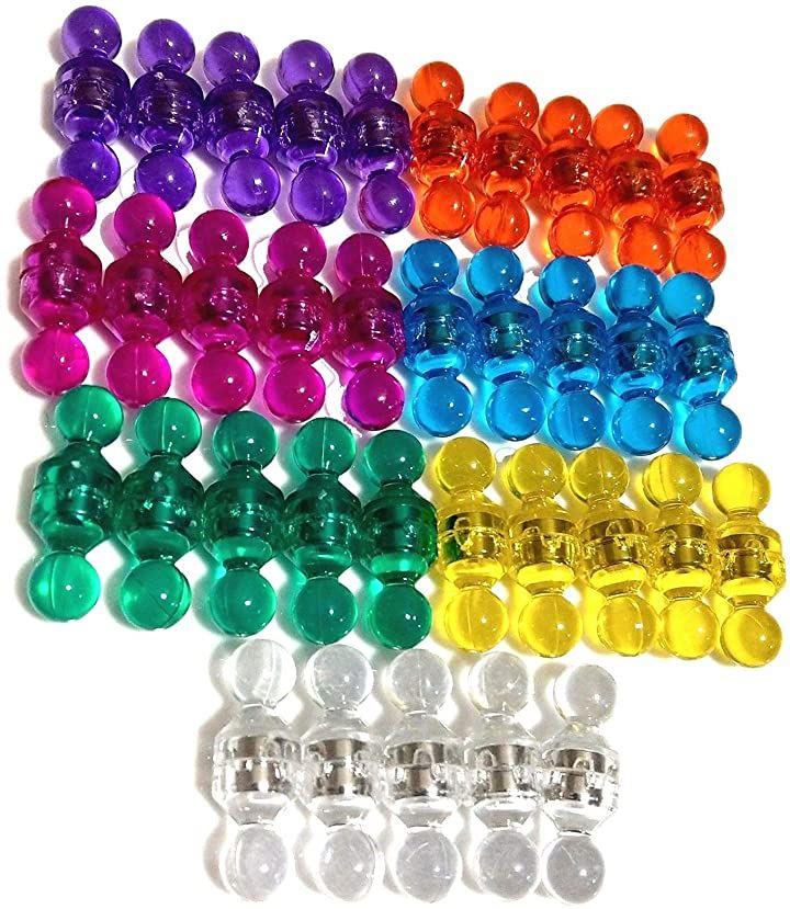 超強力 マグネットピン 小型マグネット ホワイトボード オフィス 掲示物用 マグネットマップピン 7色 各10個で計70個入り
