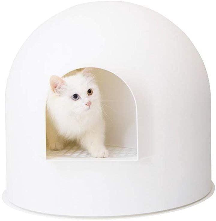 猫用トイレ 猫用キャットトイレ スノードーム型 専用スコップ付 ホワイト(ホワイト, 50x55x56cm)