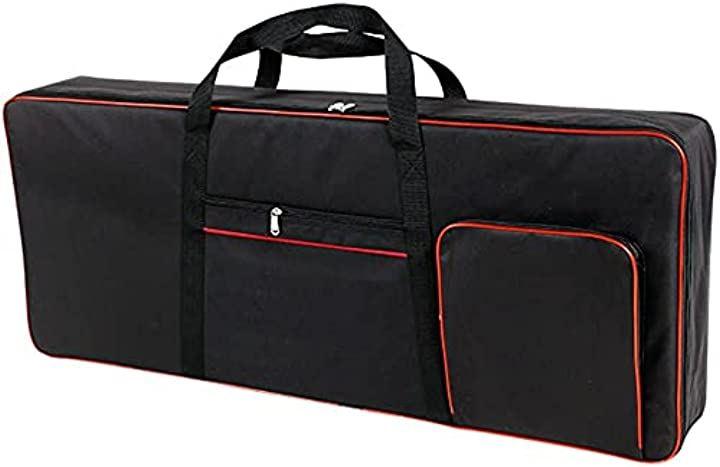 保護クッション入 防水 背負える キーボード キャリーケース リュック 2WAY 61鍵 電子ピアノ シンセサイザー ソフト バッグ(ブラック)