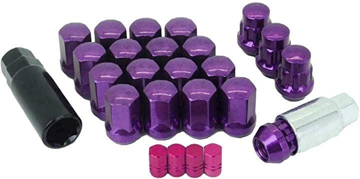 ギアロックホイール ナット 改 エアバルブ キャップ 付 盗難防止 紫 P1.5-20(紫 P1.5-20)
