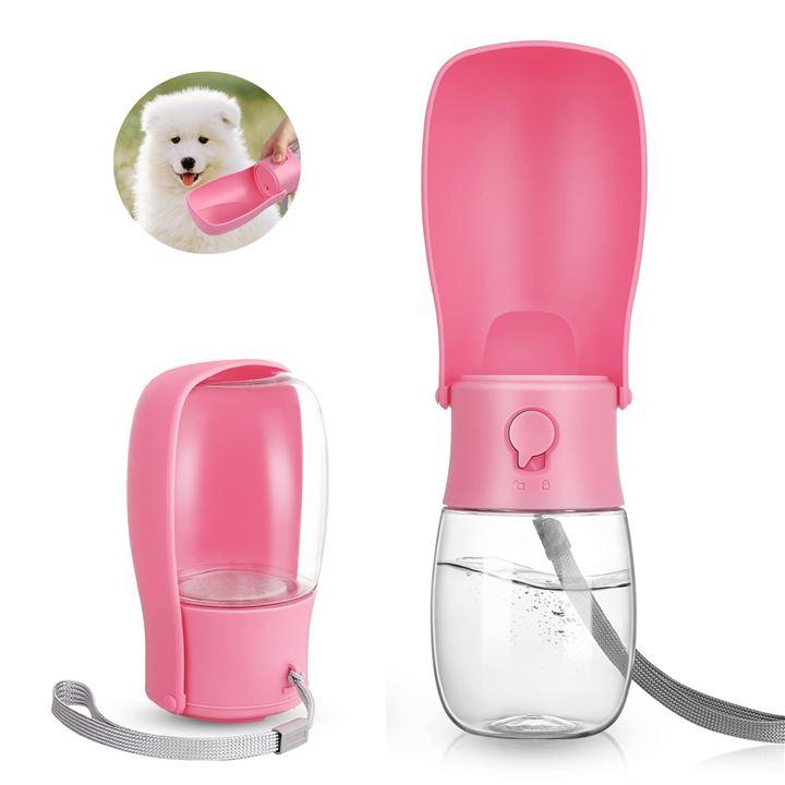 ペットウォーターボトル 犬 散? 水筒 アウトドア 水飲み器(ピンク, M)