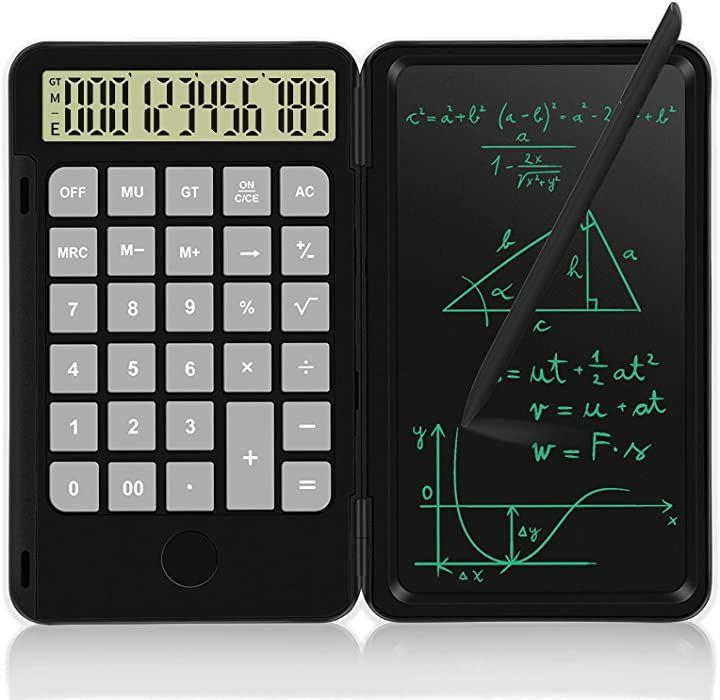 電卓付き電子メモパッド Type-C USB充電式 計算機 デジタルメモ 12桁 ワンタッチ消去 ロック機能付き 6.5インチ ペン付き 黒(黒, 6.5インチ黒)