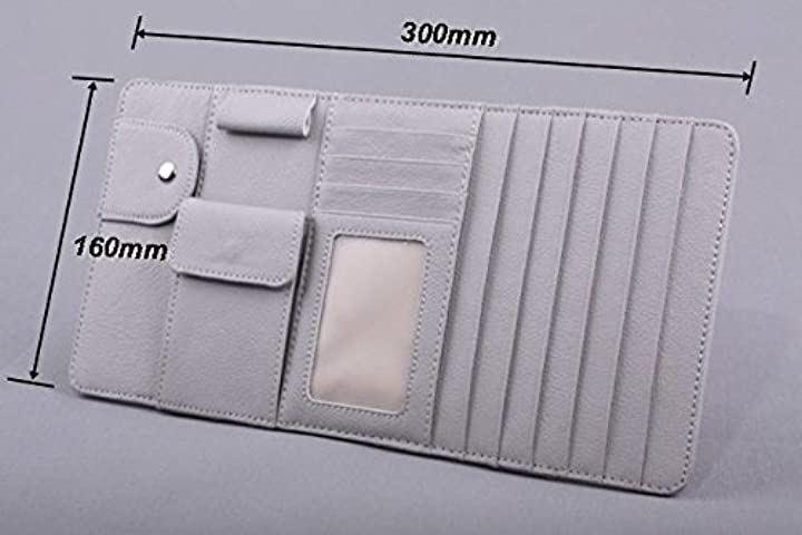 〈〉車内の小物整理に サンバイザー 収納 小物入れ ホルダー レザー ケース グレー(縦 16cm、横 30cm)