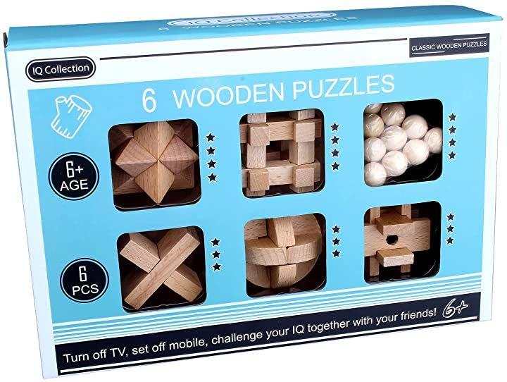孔明パズル 木製パズル 脳トレ 立体パズル 知恵おもちゃ 6pcsセット 攻略図付