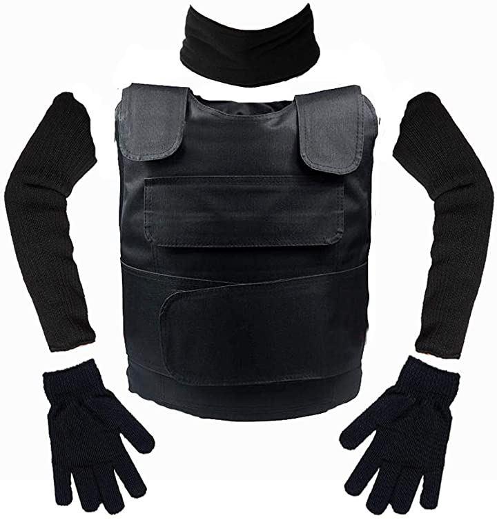 ライケイ 防刃 ベスト + 手袋 アームカバー+ネックガード 計4点 フリーサイズ