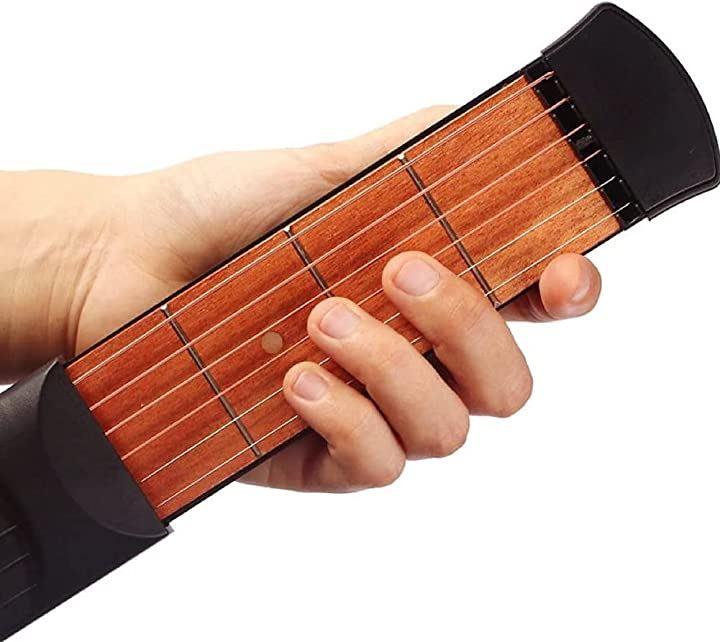 ポケットギター 練習用ツール 4フレット 収納袋 調整レンチ付き(黒、木目)