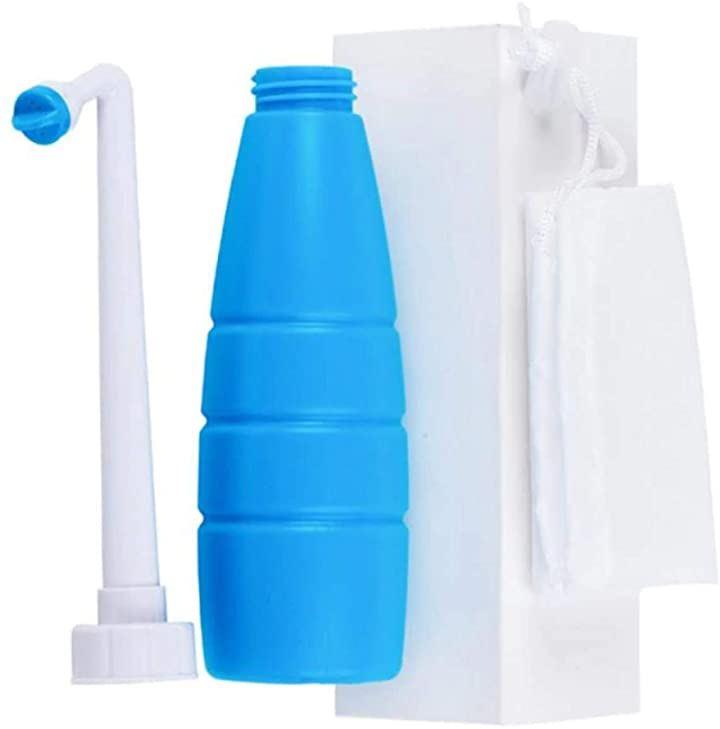 携帯おしり洗浄器 お出かけ アウトドア 簡易 収納袋付き(青, 400ml)