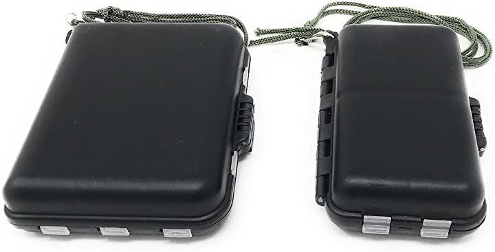 フック シンカー等の小分けに ミニ タックル ケース 2種セット ストラップ付き オカッパリ ルアー フィッシング(ブラック)