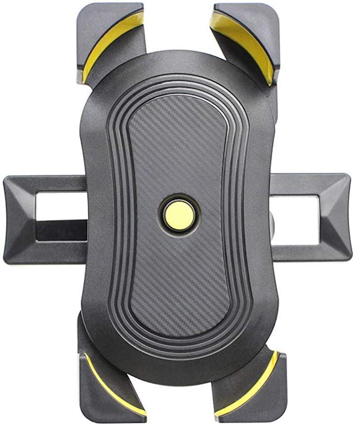バイク 自転車 ハンドル巻き付け式 汎用 スマホ ホルダー(A・イエロー)