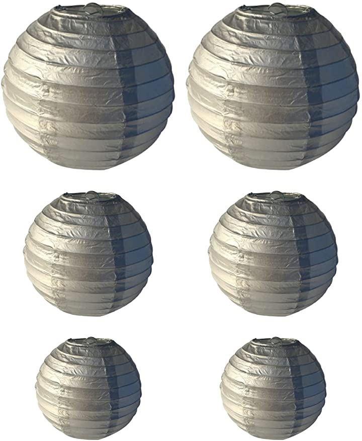 提灯 紙提灯 丸型 無地 イベント パーティー 装飾(silver)