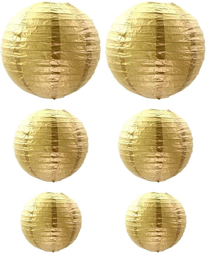 提灯 紙提灯 丸型 無地 イベント パーティー 装飾(gold)