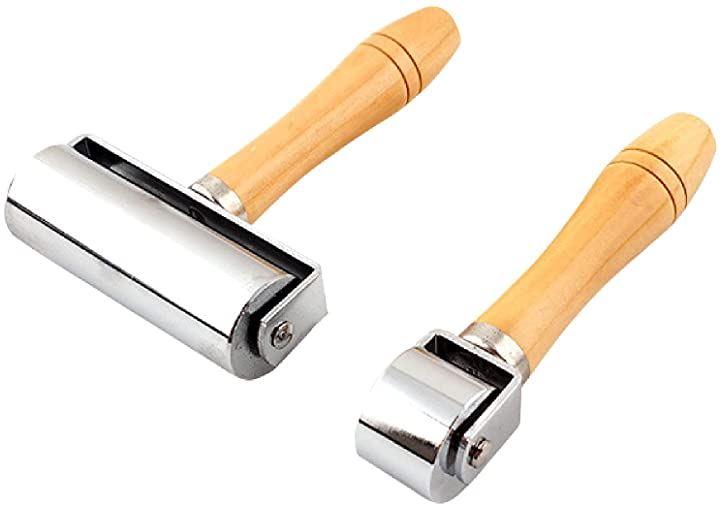 革 ローラー 革細工 道具 DIY 壁紙 クロス 床紙はり 押さえ 圧着 重量 25mmと100mmのセット(25mmと100mmのセット)