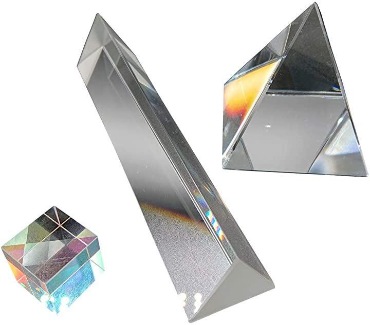 プリズム 光学 ガラス 自由研究 反射 屈折 おもちゃ 角柱 立方体 四角錘 工作 子供 3点セット 収納袋付